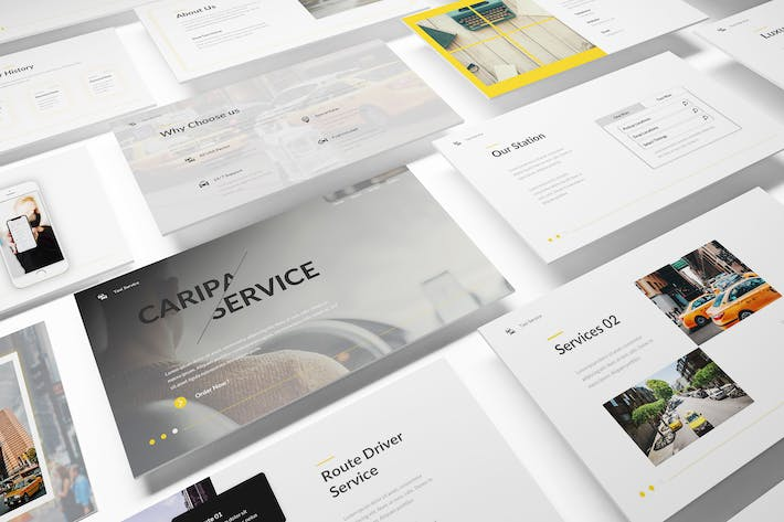 Thumbnail for Taxi Service Powerpoint Template