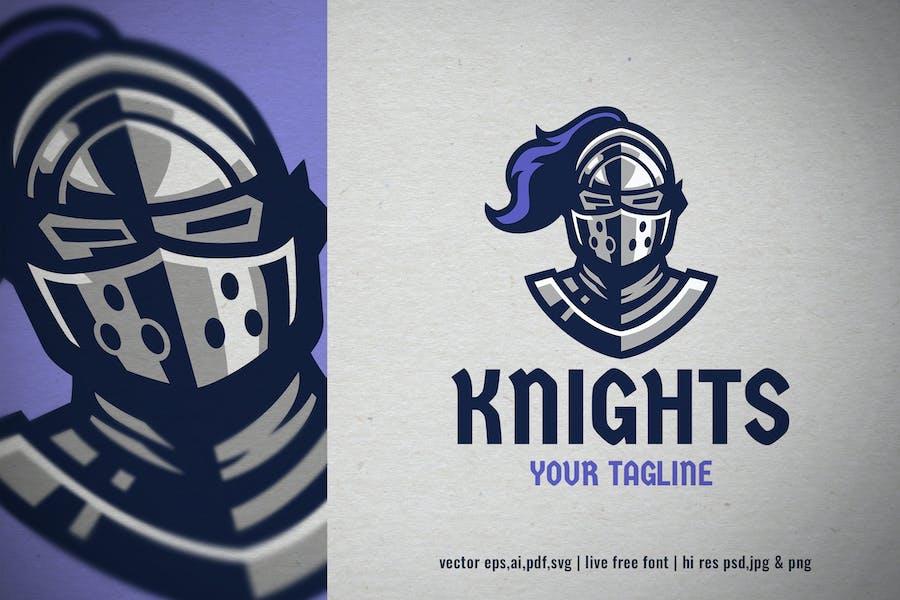 knight helmet mascot logo