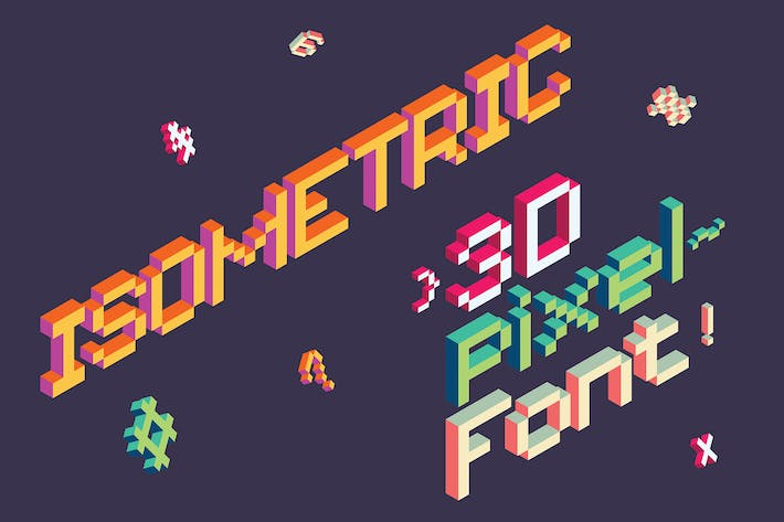 Thumbnail for Isometric Pixel Font Vector Letters Alphabet