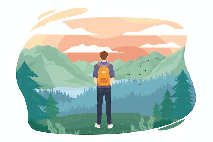 Thumbnail for Guy traveler looks at the mountains. Flat vector.