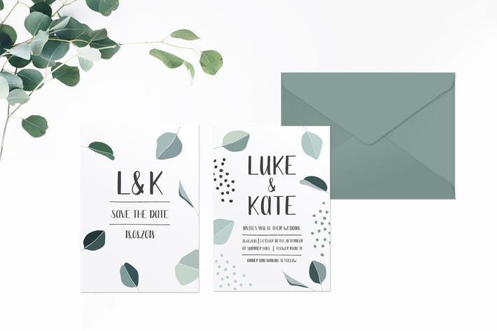 Thumbnail for Green Leaves Wedding Invitation Suite