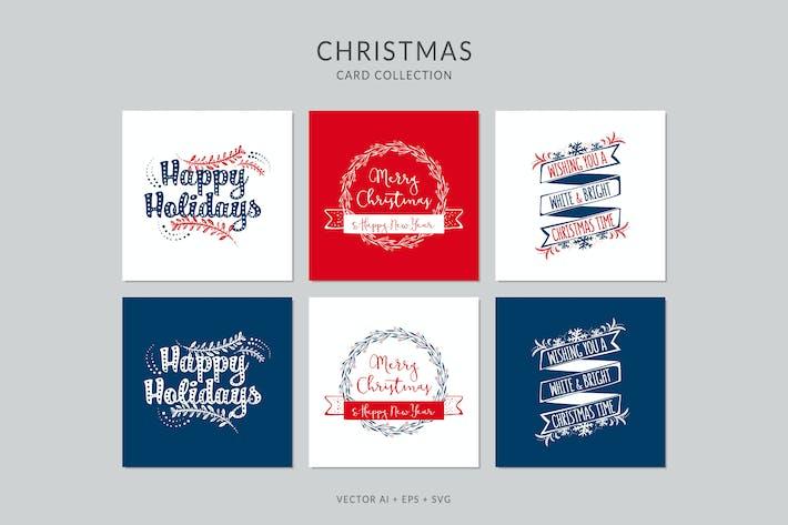 Thumbnail for Рождественские поздравительные открытки Вектор набор