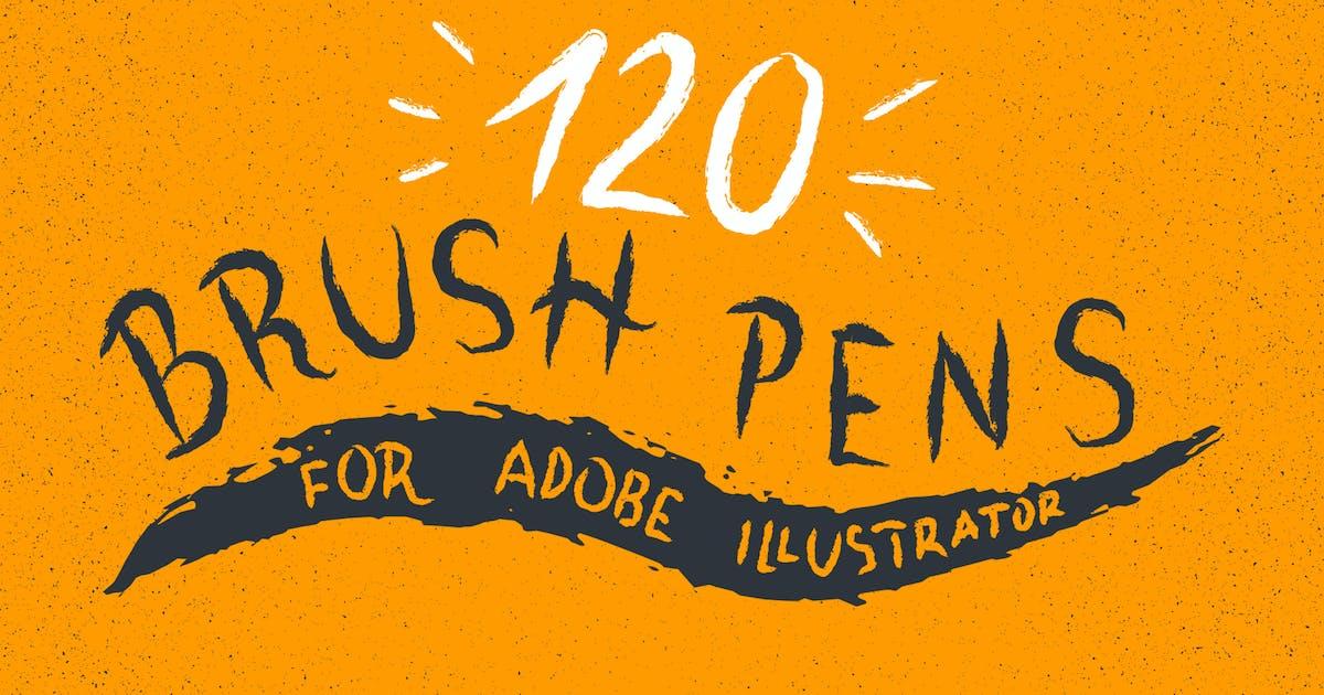 Download 120 Brush Pens for Adobe Illustrator by guerillacraft
