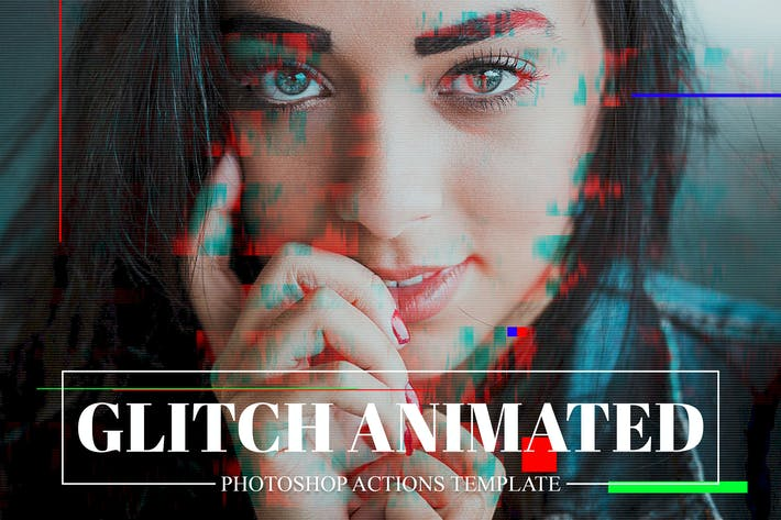 Gif Glitch Animated Photoshop Action by creativetacos on