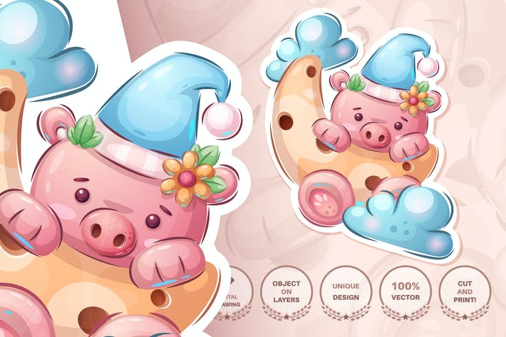 Thumbnail for Cute moon pig - seamless pattern