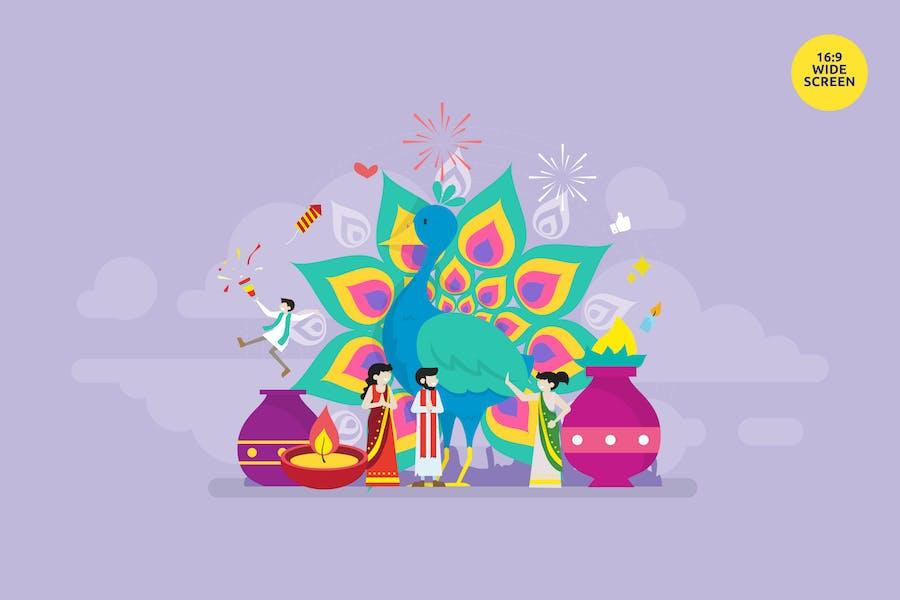 Diwali Hindu Festival Celebration Vector Concept