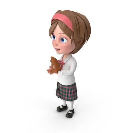 Cartoon Girl Meghan Playing Baseball