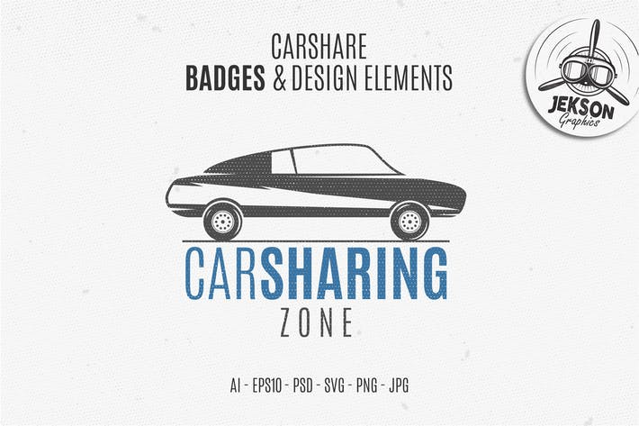 Thumbnail for Car Sharing Badges / Logo & Retro Elements