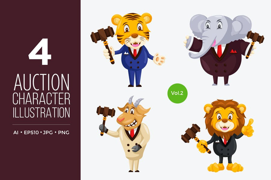 Cute Auction Animal Vector Character Set 2