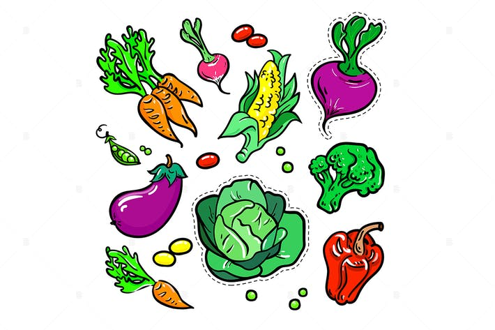 Thumbnail for Vegetables - vector isolated retro stickers set