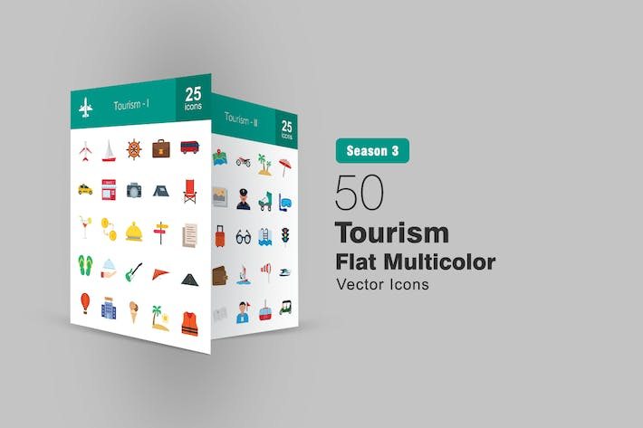 Thumbnail for 50 Tourism Flat Icons