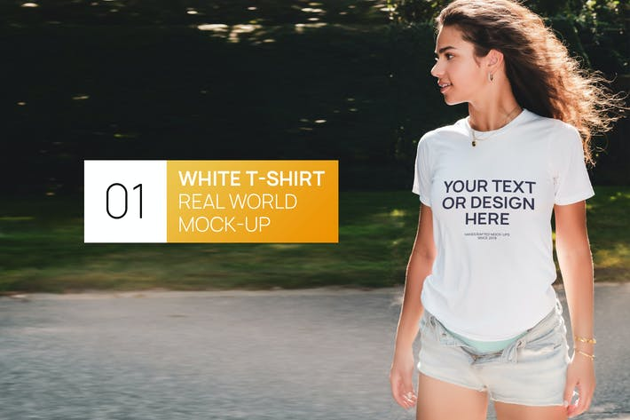 Thumbnail for Attractive Woman White T-Shirt Real World Mock-up