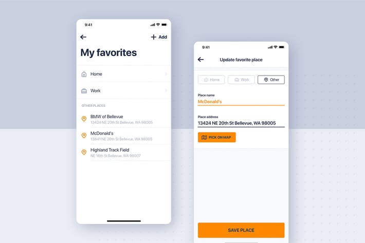 Thumbnail for Car rental mobile UI Kit - Update Favorites place