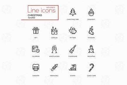 WeihnachtsThema, Weihnachten - Liniendesign Icons Set