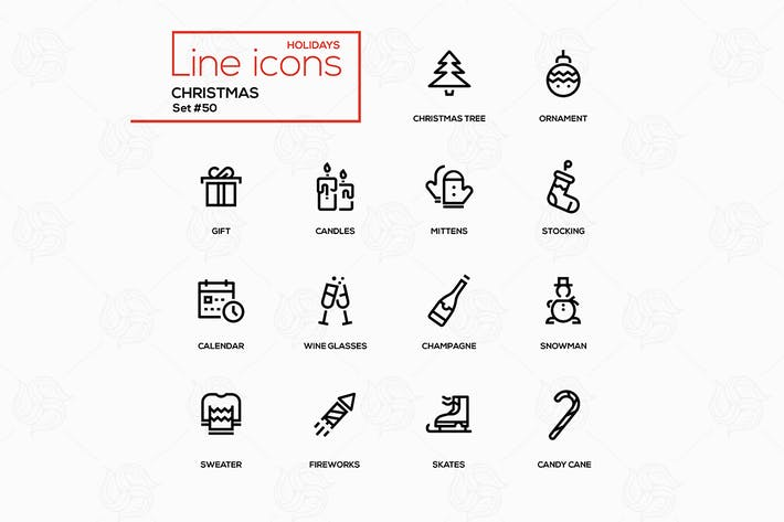 Cover Image For Holidays theme, Christmas - line design icons set