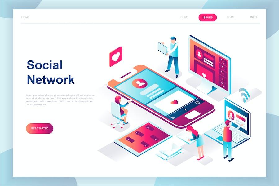 Page de destination Isométrique des réseaux sociaux