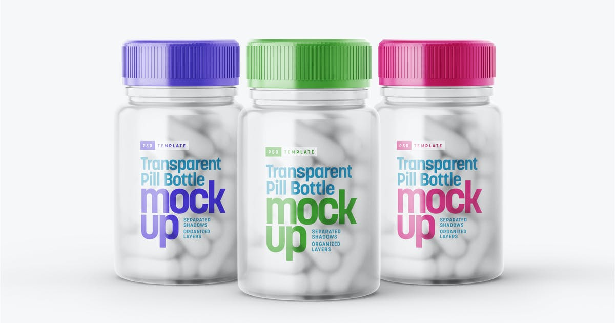 Download Matte Transparent Pill Bottle Mockup by deeplabstudio