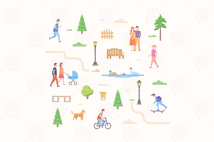 Thumbnail for City life constructor - flat design elements