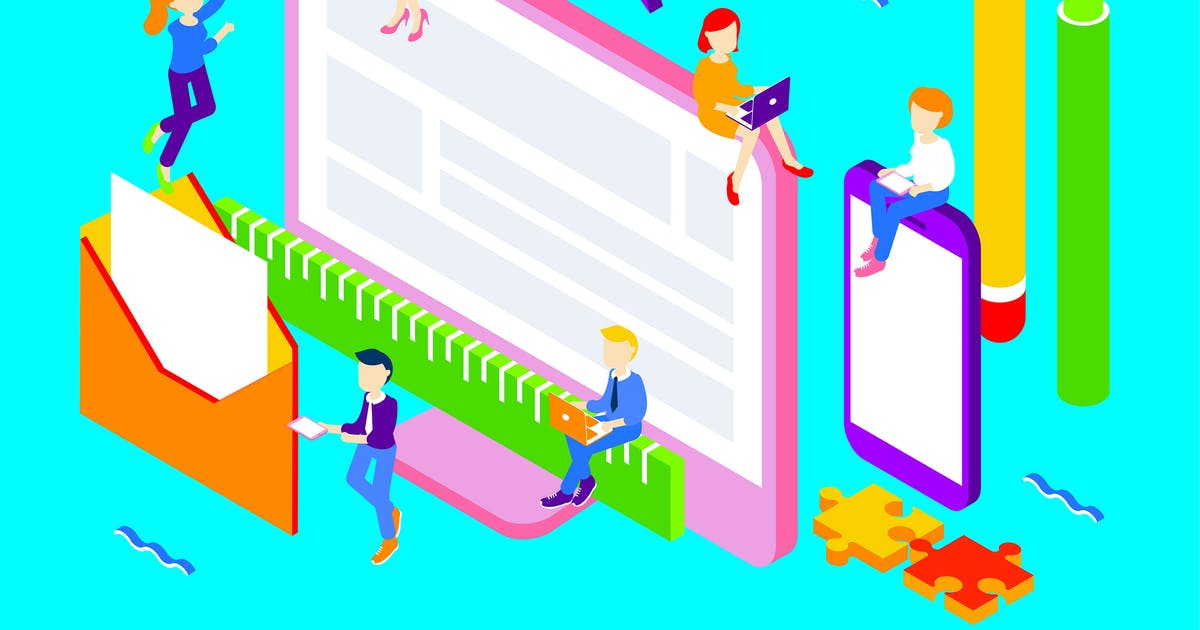 Download Brand Design Isometric Illustration by angelbi88