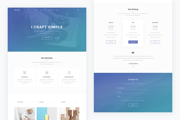 Thumbnail for Onepage — Portfolio Landing Page PSD Template