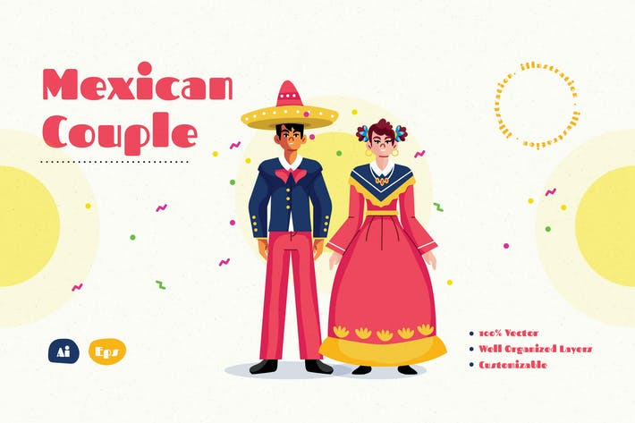 Mexican Couple Illustration