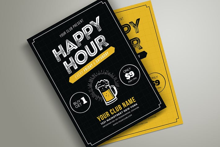 Thumbnail for Happy Hour Beer Promotion Flyer / Poster