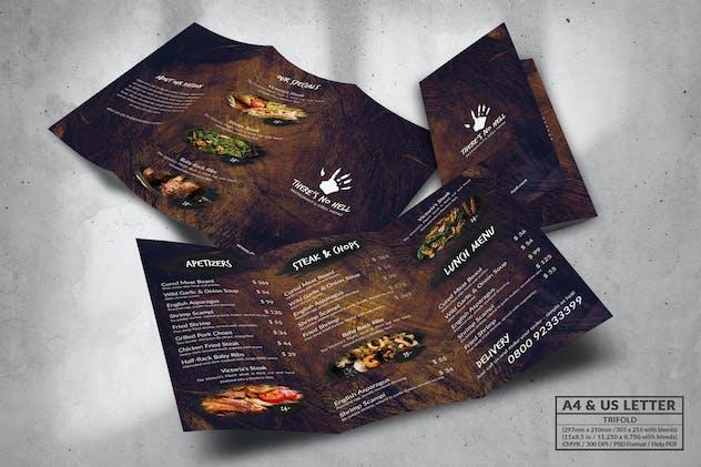 Trifold Food Menu Design A4 & US Letter