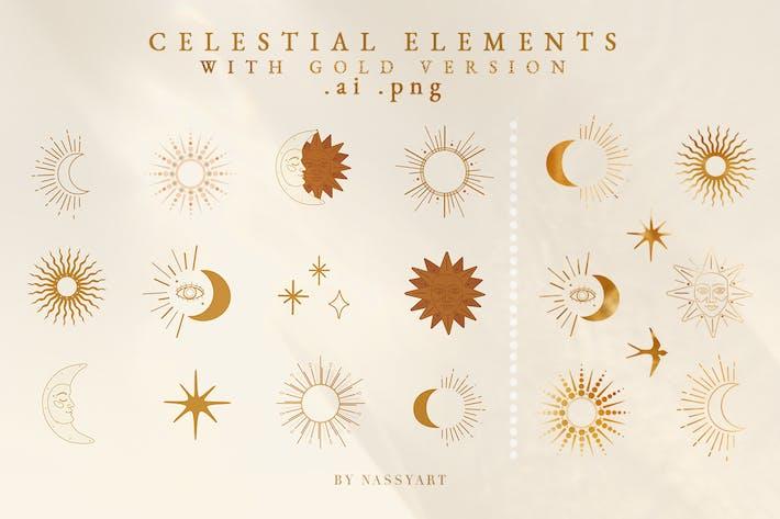 Thumbnail for Éléments célestes avec texture dorée