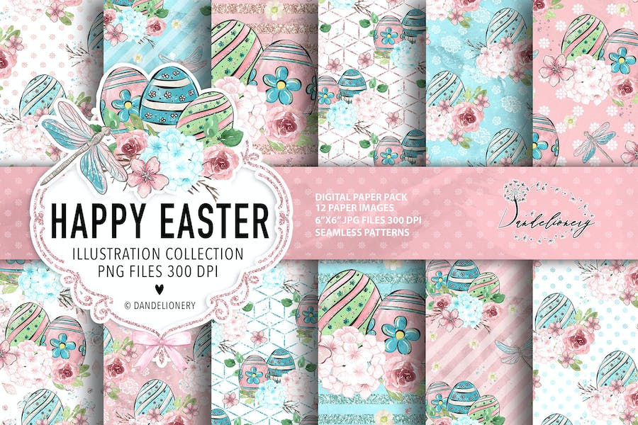 Happy Easter dragonfly digital paper pack