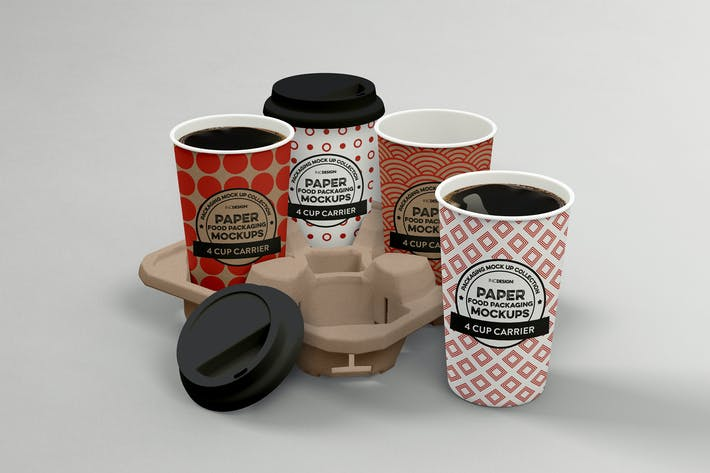 Thumbnail for 4-Cup Carrier Packaging Mockup