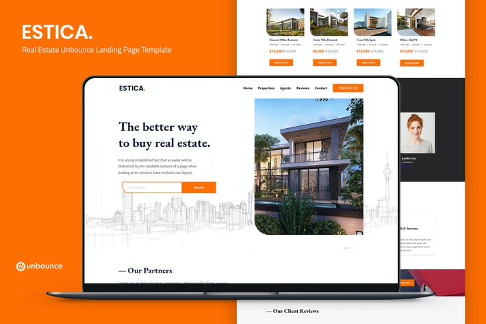 Estica — Недвижимость Unbounce Landing Page