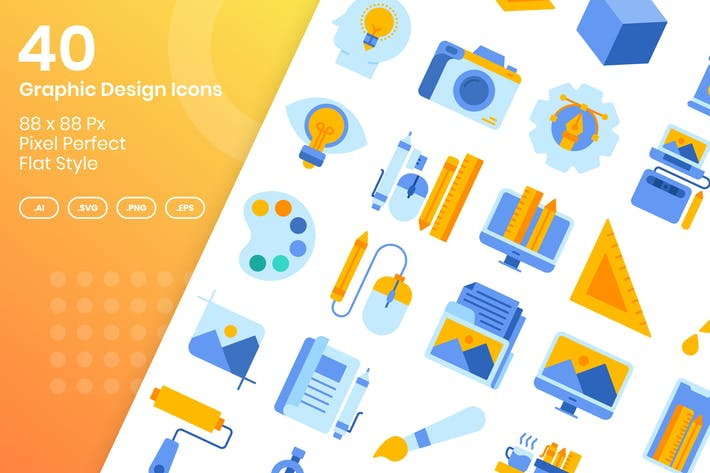 Thumbnail for 40 Graphic Design Icons Set - Flat