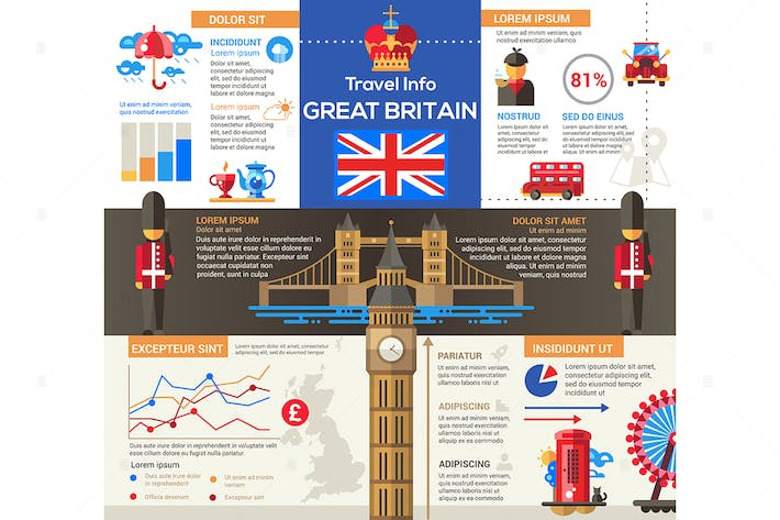 Thumbnail for Great Britain Travel info - flat design poster