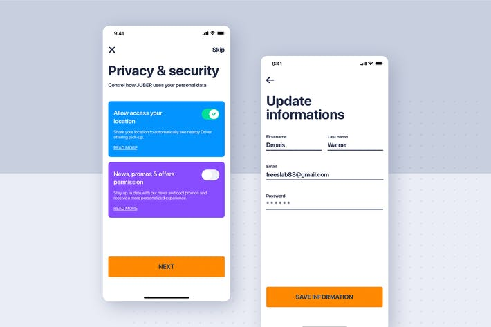 Thumbnail for Privacy & update profile UI concept