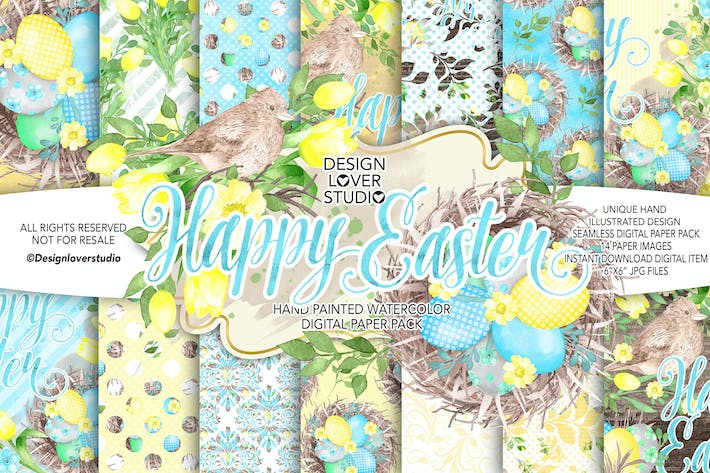 Thumbnail for Aquarell HAPPY OSTERN Gelb Digitales Papierpaket