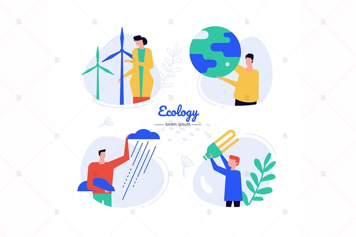 Thumbnail for Eco energy - flat design style characters set
