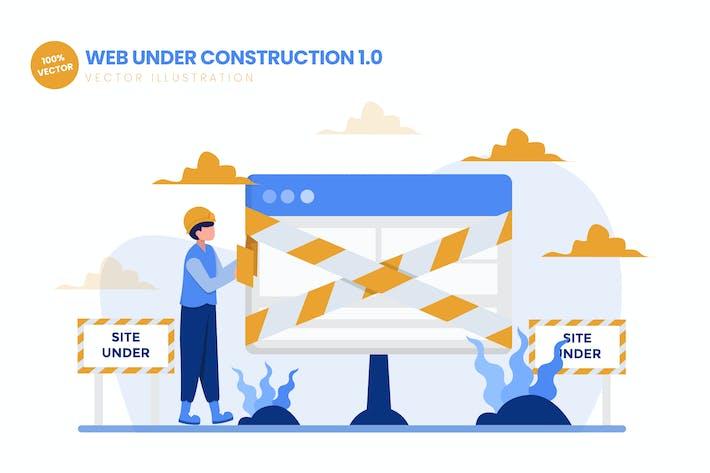 Thumbnail for Web Under Construction 01 Flat Vector Illustration