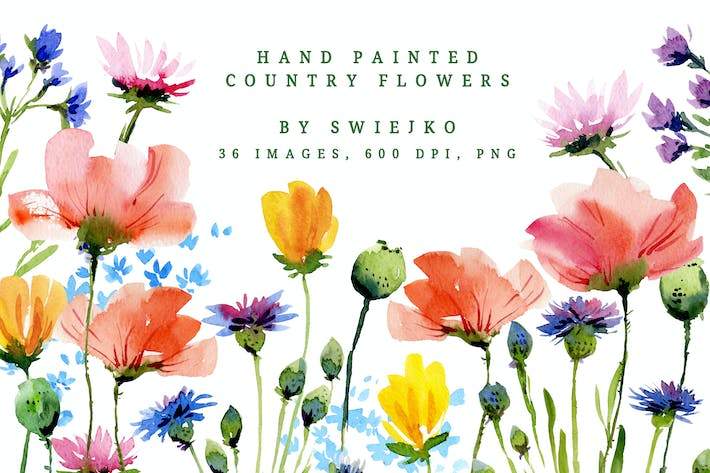 Thumbnail for Watercolor Country Flowers