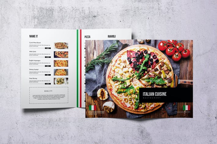 Thumbnail for Italian Cuisine Elegant Bifold Menu A4 & US Letter