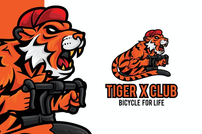 Thumbnail for Tiger Bicycle Club Logo Mascot Template