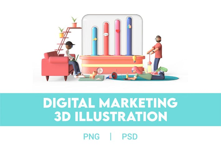 Thumbnail for 3D Digital Marketing Illustration