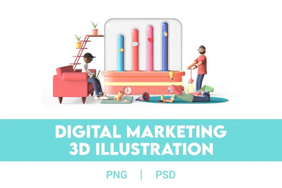 3D Digital Marketing Illustration