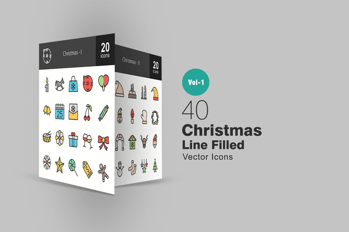 Thumbnail for 40 Christmas Line Filled Icons