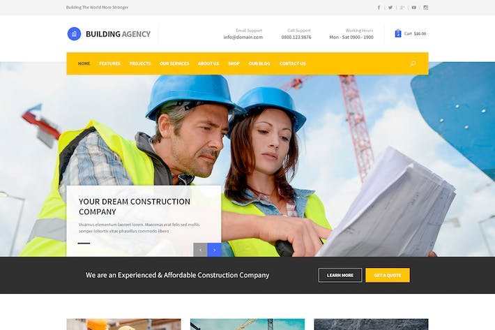 Thumbnail for Building Agency - Blog and Shop PSD
