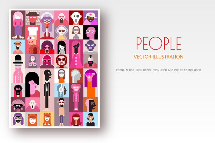 Thumbnail for People pop-art vector design