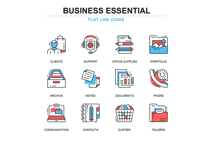 Thumbnail for Thin line business essential icons concepts set
