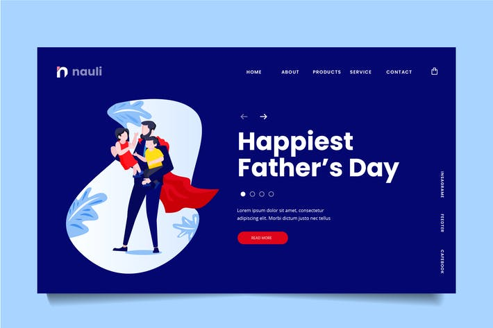 Fathers Day Web Header PSD and AI Vector