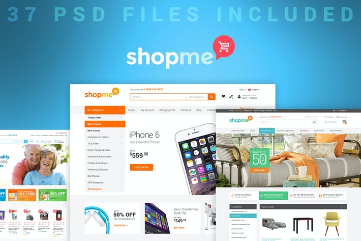 Thumbnail for ShopMe - Ecommerce Multipurpose PSD Template