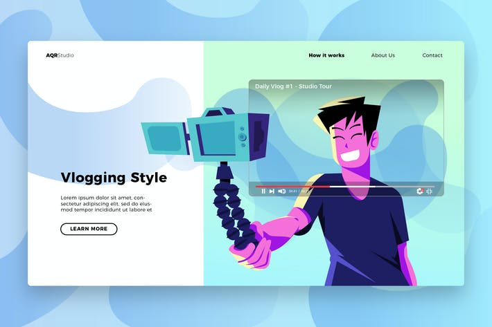 Thumbnail for Vlogger - Banner & Landing Page