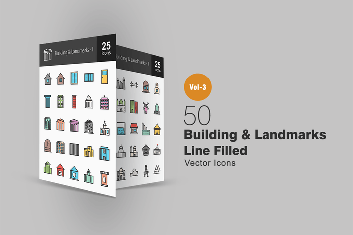 Thumbnail for 50 Buildings & Landmarks Line Filled Icons